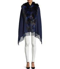 silver fox fur collar wool shawl