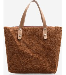 casual teddy faux fur tote bag