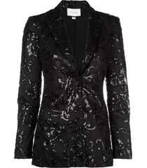 alexis embroidered fitted blazer - black