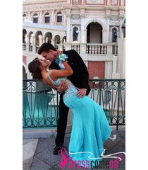 new fashionable mermaid spaghetti strap blue long prom/evening/party dresses l31