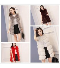 plus size winter fashion high quality fur vest coat luxury faux fox warm women v