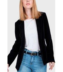 blazer io terciopelo negro - calce regular