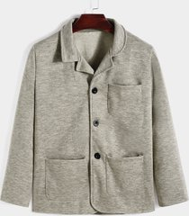 abrigo de chaquetas casuales con múltiples bolsillos cálidos de invierno para hombre