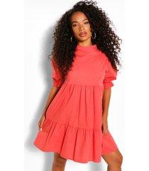 petite gesmokte jurk met hoge hals, rose