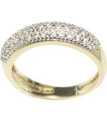 anel kumbayá aparador de aliança venice bombê semijoia banho de ouro 18k cravação dupla carreira de zircônia detalhe em ródio - kanui