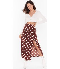 dot it all button midi skirt