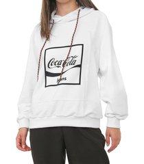 moletom fechado coca-cola jeans logo branco