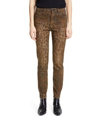 women's r13 leopard print distressed high waist skinny jeans