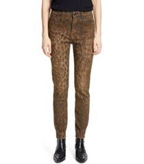 women's r13 leopard print distressed high waist skinny jeans, size 31 - brown