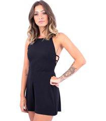 macaquinho aberto do lado up side wear preto - preto - feminino - viscose - dafiti