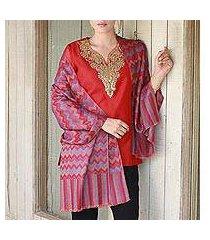 wool shawl, 'poppy romance' (india)