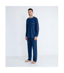 pijama manga longo em poliviscose com bolso | viko | azul | m