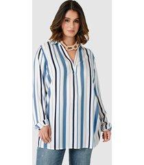 blouse sara lindholm wit::jeansblauw