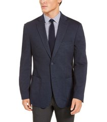 bar iii men's slim-fit navy blue knit sport coat, created for macy's