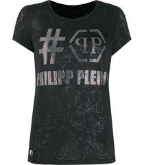 philipp plein destroyed t-shirt - black