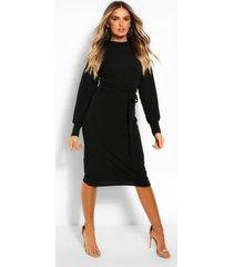 geribbelde midi jurk met ceintuur en hoge kraag, zwart