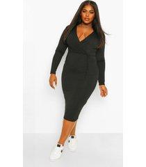 plus zachte geribbelde mini wikkel jurk, black
