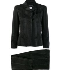 chanel pre-owned 2003's striped skinny two-piece suit - black