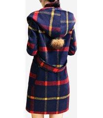 cappotto in lana scozzese con cappuccio in misto lana