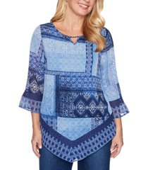 alfred dunner petite autumn harvest patchwork-print tunic