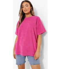 oversized badstoffen t-shirt, bright pink