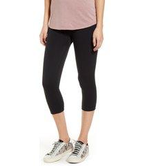 women's hue reversible terry capri leggings, size large - black