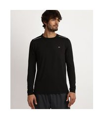 camiseta masculina running esporte ace com proteção uv 50+ e tela respirável manga longa e gola careca preta