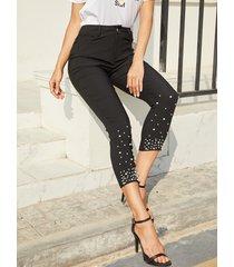 yoins black detalles de perlas bolsillos diseño pantalones