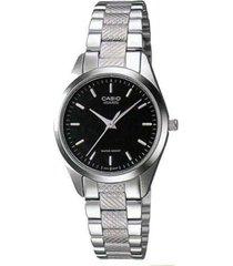 reloj analógico mujer casio ltp-1274d-1a - plateado con negro  envio gratis*