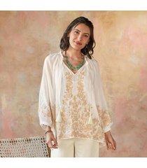 sundance women's dulce de leche blouse in ivory large