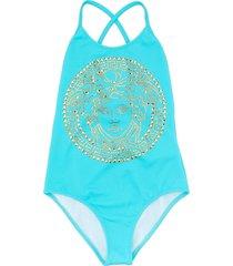 young versace medusa head logo swimsuit - blue
