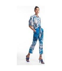 camisa de seda de manga curta com amarração estampada est toile de rio azul - 44