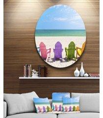 "designart 'adirondack beach chairs' seashore photo circle metal wall art - 38"" x 38"""