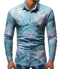 casual manica lunga in poliestere monopetto stampato comfy print camicia per uomo