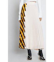 proenza schouler crepe pleated stripe skirt yellowmulti/white 6