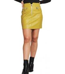 mini falda ecocuero cierres amarillo nicopoly