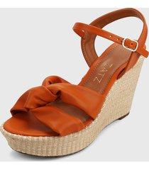 sandalia plataforma naranja-beige zatz