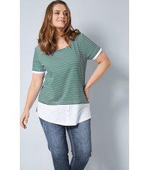 2-in-1-shirt janet & joyce groen::zwart::wit