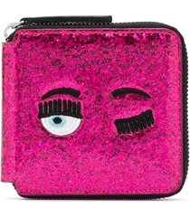 chiara ferragni winking eye square purse - pink