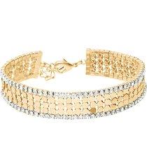 bracciale con strass in metallo dorato per donna