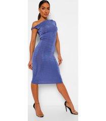 getextuurde strakke midi jurk met open schouder, blue