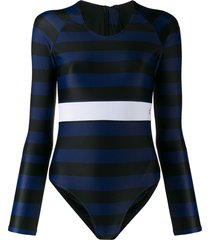 perfect moment stripe spring swimsuit - blue