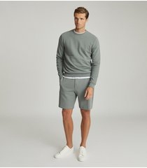 reiss belsay - garment-dyed jersey shorts in dark sage, mens, size xxl