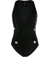 balmain buttoned wrap swimsuit - black