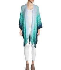fringed open-front chevron poncho