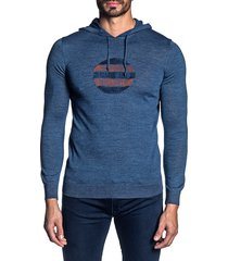 jared lang men's lightweight knit hoodie - blue - size xl