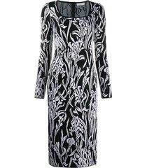 givenchy floral-pattern mid-length dress - black