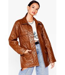 womens callin' it quilts faux leather belted jacket - khaki