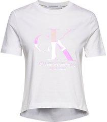 iridescent ck straight tee t-shirts & tops short-sleeved vit calvin klein jeans