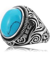 vintage pattern blue black turquoise finger rings anello in acciaio con titanio gemma